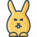 angry, bunny, grumpy, hare, ireful, rabbits, unhappy icon