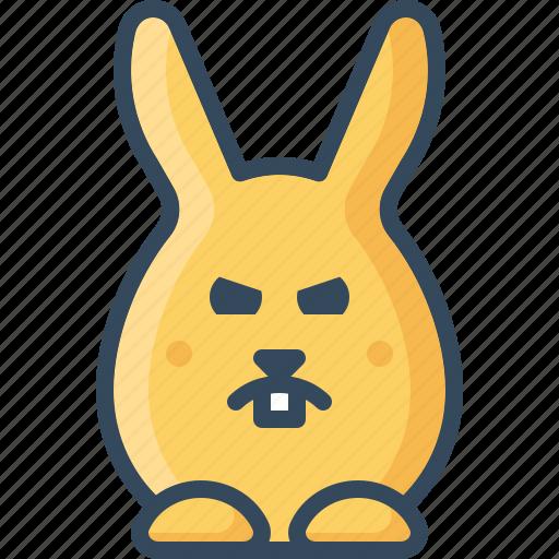 angry, bunny, grumpy, hare, ireful, rabbits, unhappy icon