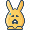 baffled, bunny, confuse, hare, mislead, rabbits, sad icon