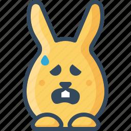 baffled, bunny, confuse, hare, mislead, rabbits, sad icon