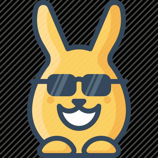 bunny, cheer, cool, glasses, happy, hare, rabbits icon