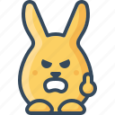 angry, bunny, cruel, emoticon, furious, hare, rabbits icon