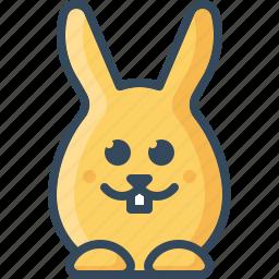 bunny, emoticon, glad, happy, hare, joyful, rabbits icon