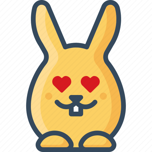bunny, emoticon, hare, in love, rabbits, romantic, sweet icon