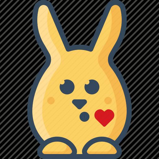 bunny, emoticon, hare, kiss, like, love, rabbits icon