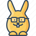 bunny, clever, glasses, hare, nerdy, rabbits, smart icon