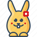 bunny, flower, hare, love, loving, rabbits, romantic icon