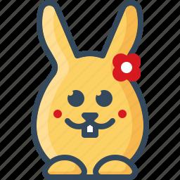 bunny, flower, hare, love, loving, rabbits, romantic icon