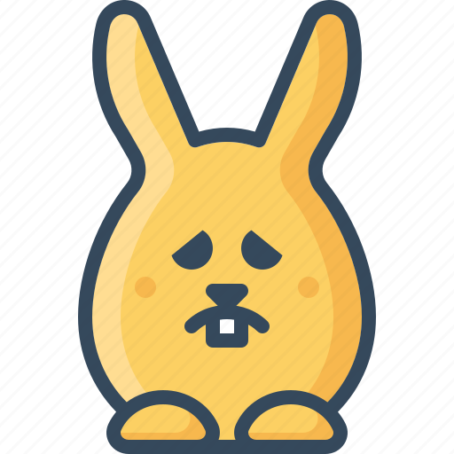bunny, emoticon, hare, rabbits, sad, sorrowfull, unhappy icon