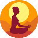 exercise, fitness, good morning, health, meditation icon