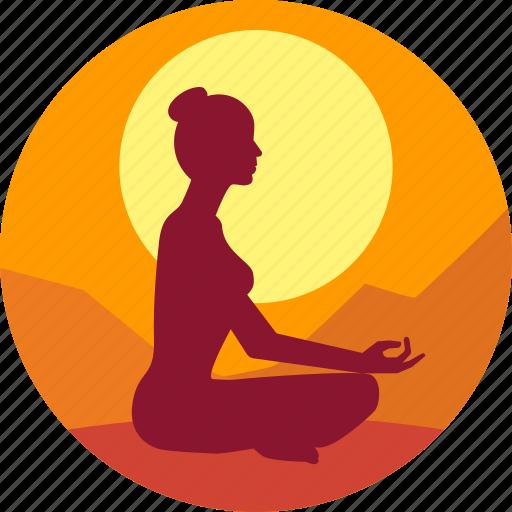 exercise, fitness, good morning, health, meditation icon