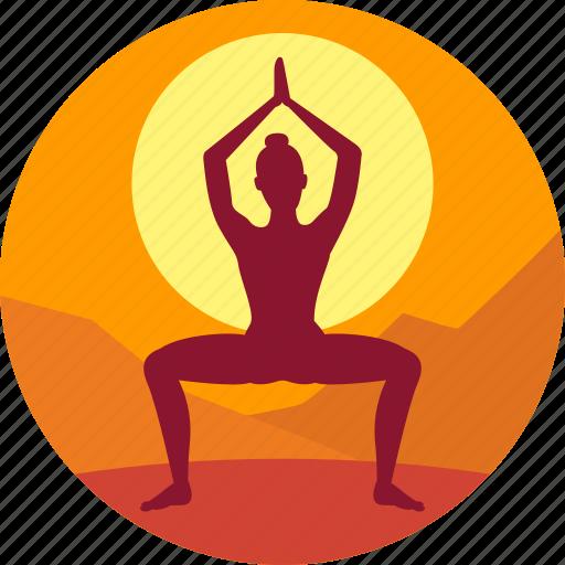 exercise, health, meditation, morning, yoga icon