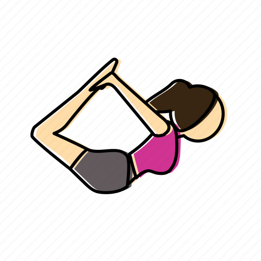 bow, meditation, pose, yoga icon