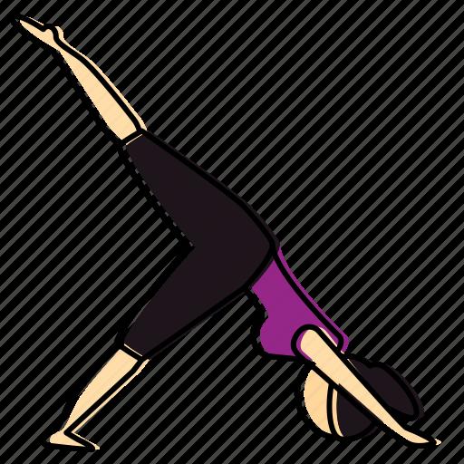 downward, facing, meditation, pose, yoga icon