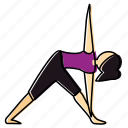 meditation, pose, triangle, yoga icon