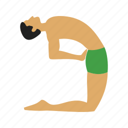 back, body, camel, fitness, healthy, pose, yoga icon