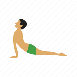 dog, facing, fitness, pose, training, upward, yoga icon