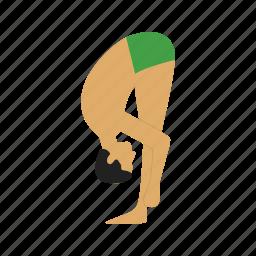 bend, exercise, flexibility, forward, pose, stretch, yoga icon