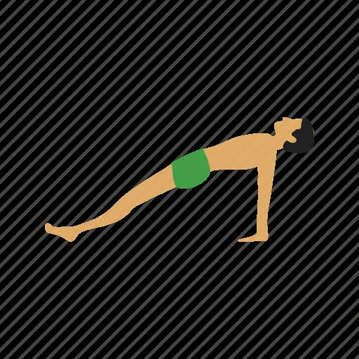 exercise, fitness, plank, pose, training, upward, yoga icon