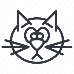 animal, cats, face, head, pet, sad, yummy icon
