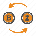 bitcoin, coin, crypto, cryptocurrency, transfer, zcash icon