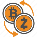 bitcoin, coin, crypto, cryptocurrency, trasnfer, zcash icon