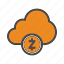 blockchain, cloud, crypto, cryptocurrency, web, zcash icon