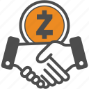 contract, crypto, cryptocurrency, deal, hand, zcash icon