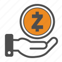 coin, coins, crypto, cryptocurrency, hand, zcash icon