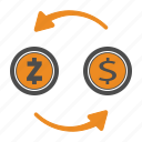 coin, crypto, cryptocurrency, money, transfer, zcash icon