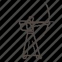 archer, arrow, kyudo, line, man, target icon
