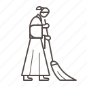 cleaning, line, nun, sweeping, woman, working icon