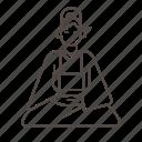 calm, line, meditation, nun, relax, relaxation, zazen icon