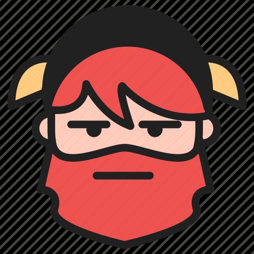 dwarf, emoji, emoticon, face, stare, unamused icon