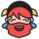 dwarf, emoji, emoticon, face, joy, tears of joy icon