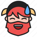 cold sweat, dwarf, emoji, emoticon, face, sweat icon