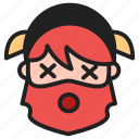 dead, dwarf, emoji, emoticon, face, tired