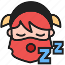 bored, dwarf, emoji, emoticon, face, sleep, sleeping icon