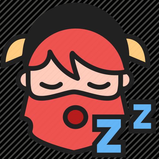 bored, dwarf, emoji, emoticon, face, sleep, sleeping icon