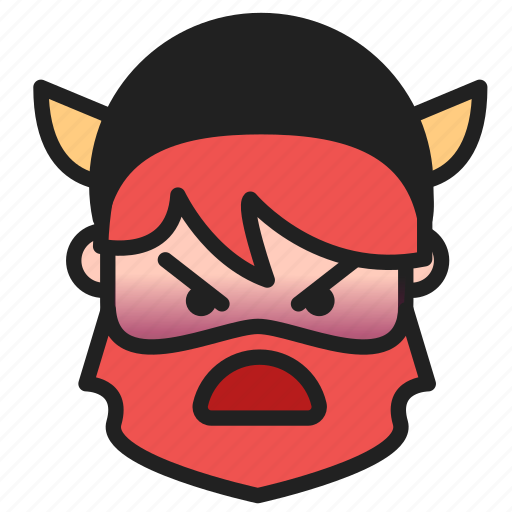 angry, dwarf, emoji, emoticon, face icon