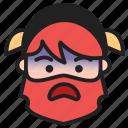 dwarf, emoji, emoticon, face, fearful icon