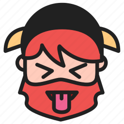 artboard, dwarf, emoji, emoticon, face, tongue, tongue out icon