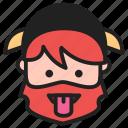 dwarf, emoji, emoticon, face, tongue icon