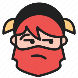 dwarf, emoji, emoticon, face, pensive icon