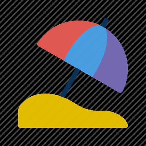 beach, sand, umbrella icon
