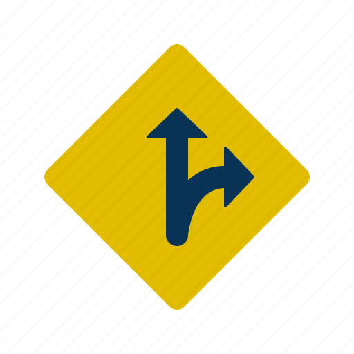 right, road, sign, straight, turn icon