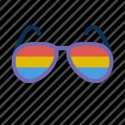 glasses, multicolor, rainbow, sun icon