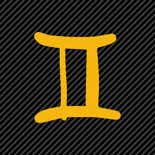 astrology, gemelli, gemini, hand-drawn, zodiac icon