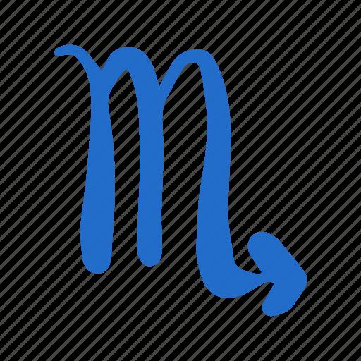 astrology, hand-drawn, scorpio, scorpione, zodiac icon