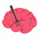 brain, food, fork, intelligence, knife, mind, zombie icon